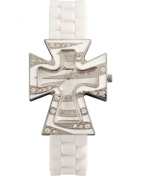 Sparkle Cross Rubber Band Watch