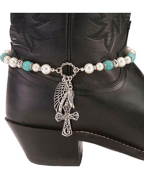 Cross & Wing Charms Boot Bracelet