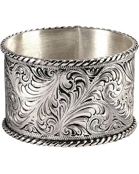 Montana Silversmiths Antique Silver Engraved Bangle