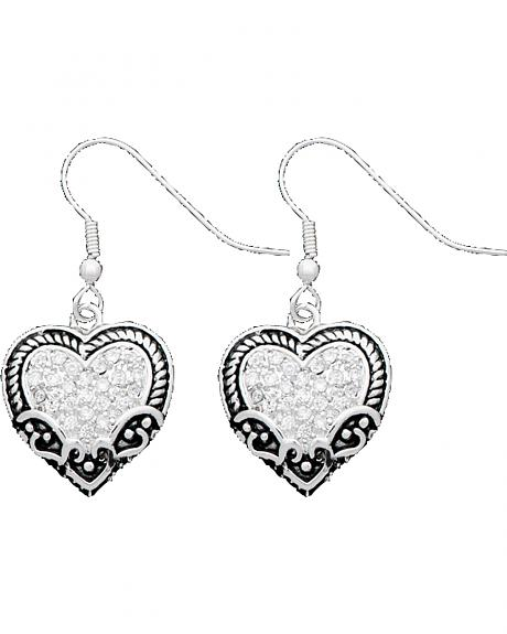 Montana Silversmiths Filigree & Rhinestone Heart Earrings