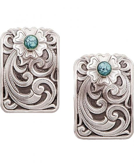 Montana Silversmiths Turquoise Scroll Earrings