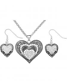 Montana Silversmiths Cubic Zirconia Heart in Heart Necklace & Earrings Set
