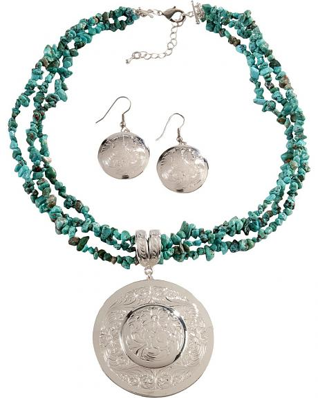 Montana Silversmiths Faux Turquoise Silver Engraved Concho Necklace Set