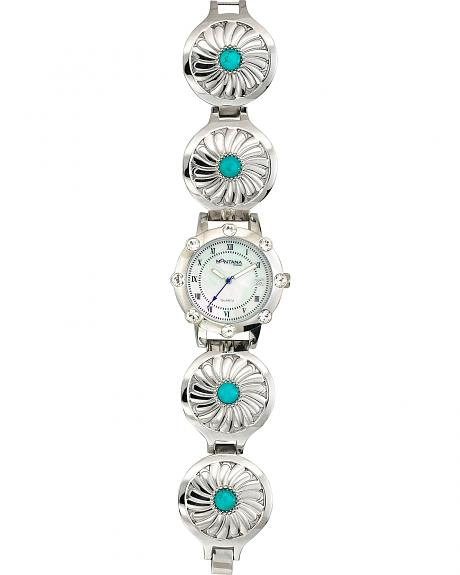 Montana Silversmiths Silver & Turquoise Concho Watch