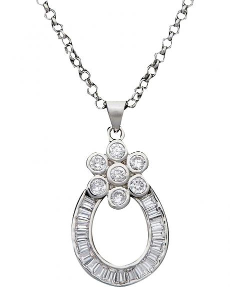 Montana Silversmiths Cubic Zirconia Floral Horseshoe Necklace