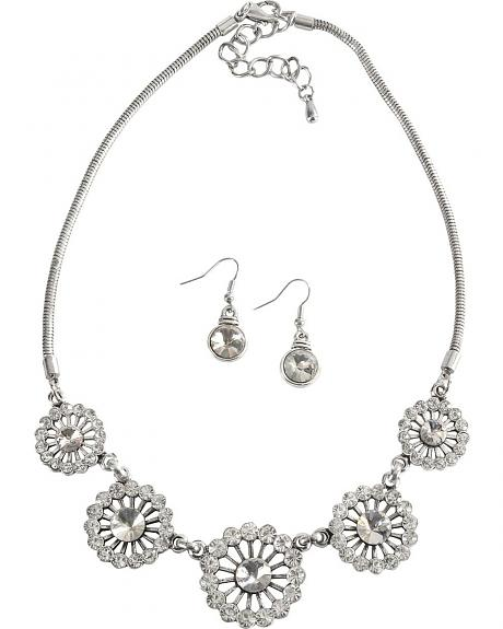 Bling Round Floral Necklace Set