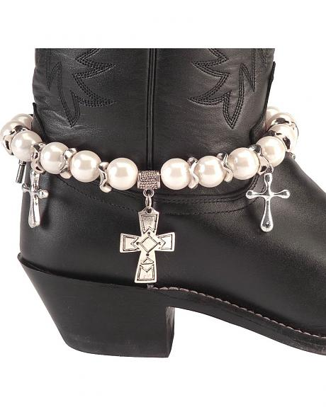 Faux Pearls & Silver-tone Cross Charm Boot Bracelet
