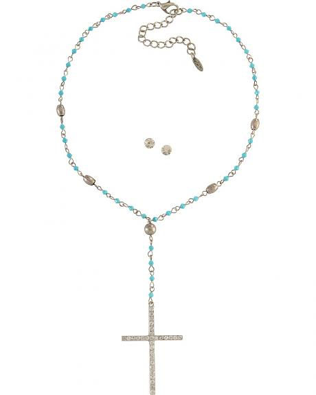 Rhinestone Cross Beaded Necklace & Earring Set