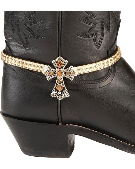 Rhinestone Cross Boot Bracelet