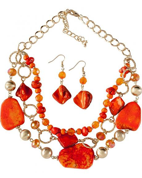 Multi Strand Orange Bead & Flat Stone Necklace