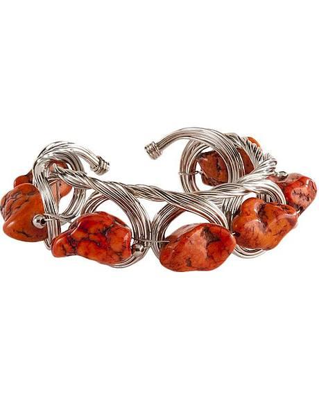 Silver Cuff with Orange Stones Bracelet