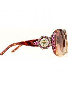 Blazin Roxx Rhinestone Concho with Cross Brown Sunglasses