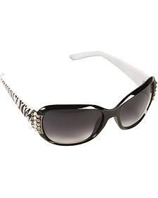 Blazin Roxx Rhinestone Embellished Zebra Print Sunglasses