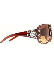 Blazin Roxx Rhinestone & Round Concho Brown Sunglasses