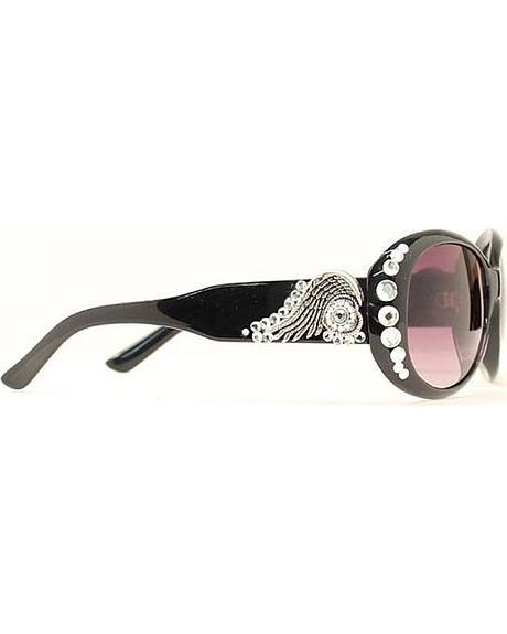 Blazin Roxx Rhinestone & Wing Concho Black Sunglasses