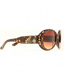 Blazin Roxx Rhinestone & Wing Concho Brown Sunglasses
