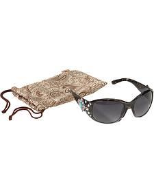 Blazin Roxx UV 400 Protection Rhinestone & Faux Turquoise Concho Sunglasses