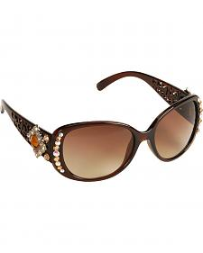 Blazin Roxx UV 400 Protection Rhinestone & Silver-Tone Concho Sunglasses