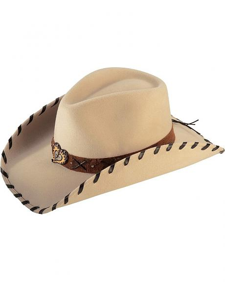Scala Whipstitched Heart Concho Wool Felt Cowgirl Hat