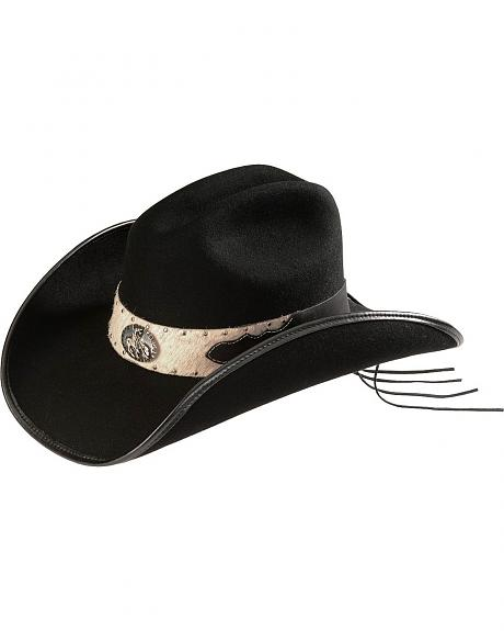Scala Hair-On Hide Hat Band Wool Felt Cowgirl Hat