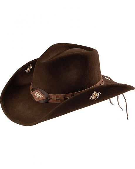 Scala Leather Laced Hat Band Wool Felt Cowgirl Hat