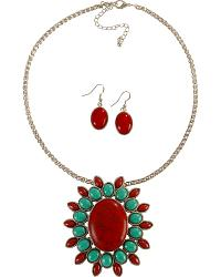 Medallion Pendant Faux Turquoise & Red Stone Necklace at Sheplers