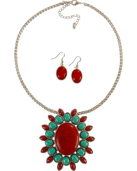 Medallion Pendant Faux Turquoise & Red Stone Necklace