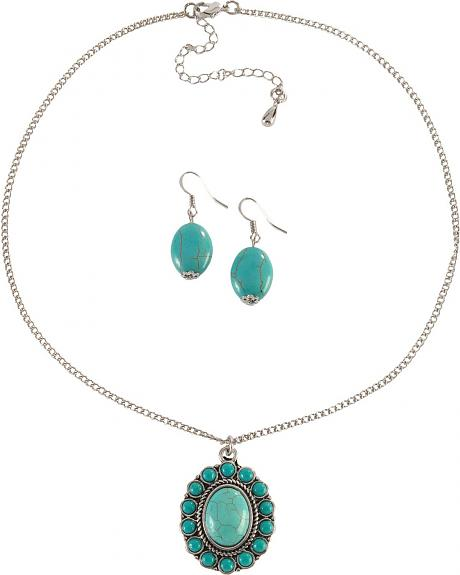 Faux Turquoise Medallion Necklace & Earrings Set