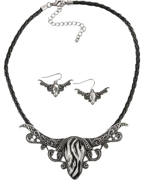 Zebra Print Longhorn Concho Necklace & Earrings Set