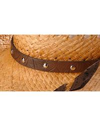 Scala Faux Leather Wrap Raffia Straw Cowgirl Hat at Sheplers