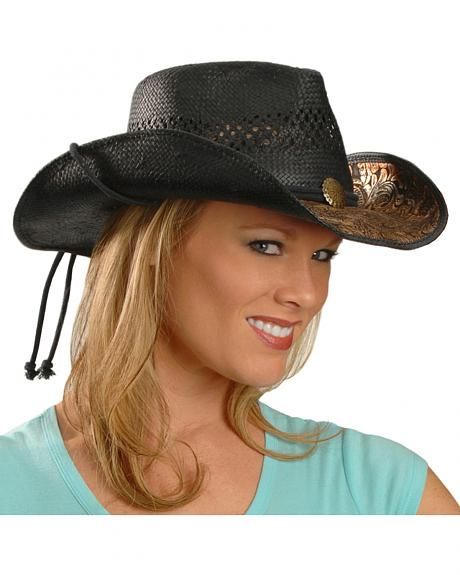 Scala Metallic Floral Brim Black Straw Cowgirl Hat