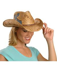 Scala Denim Cross Applique Straw Cowgirl Hat at Sheplers