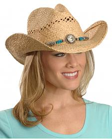 Blazin Roxx Faux Turquoise Stone Bling Raffia Straw Cowgirl Hat