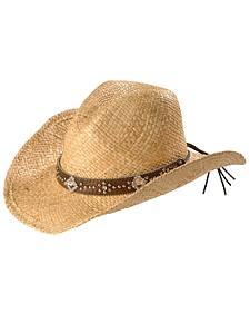 Blazin Roxx Studs & Bling Raffia Straw Cowgirl Hat