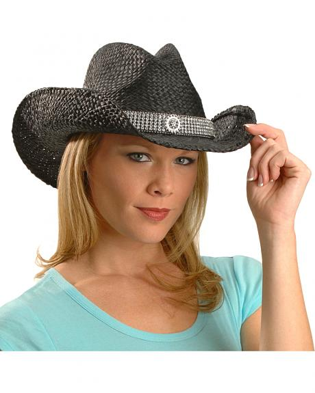 Blazin Roxx Wide Bling Hat Band Raffia Straw Cowgirl Hat