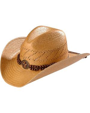 Blazin Roxx Beaded Band Brown Raffia Straw Cowgirl Hat