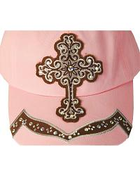 Blazin Roxx Light Pink Bling Cross Cap at Sheplers