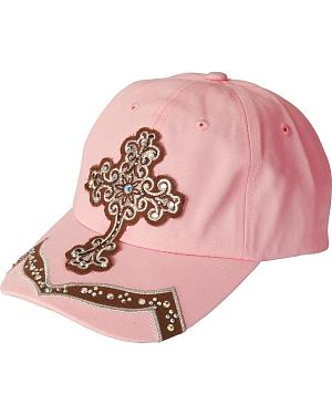 Blazin Roxx Light Pink Bling Cross Cap