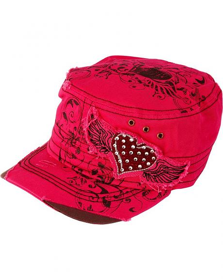 Hot Pink Heart & Wings Cap