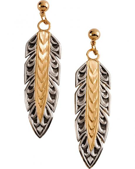 Montana Silversmiths Engraved Feather Earrings