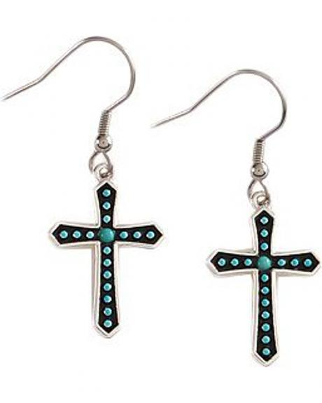 Montana Silversmiths Silver-tone & Faux Turquoise Stones Cross Earrings