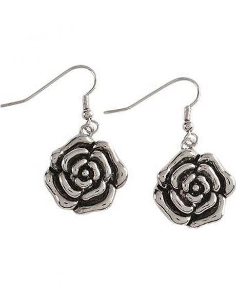 Montana Silversmiths Antique Silver-tone Rose Earrings