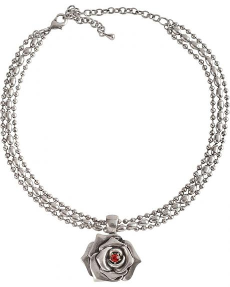Montana Silversmiths Antique Silver-tone Rose w/ Red Crystal Necklace