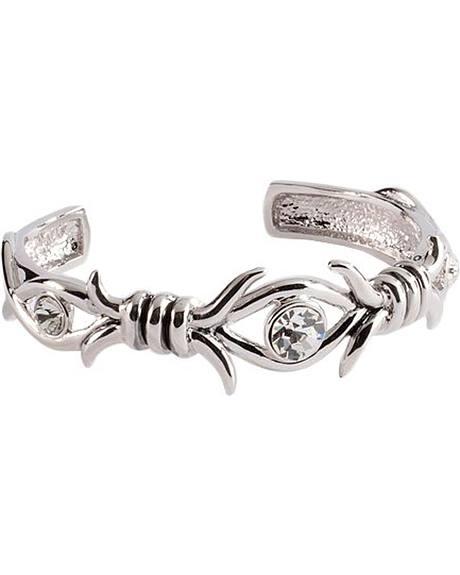 Montana Silversmiths Silver-tone Barbed Crystal Cuff Bracelet