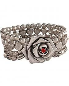 Montana Silversmiths Antiqued Silver-Tone Beaded Rose Bracelet