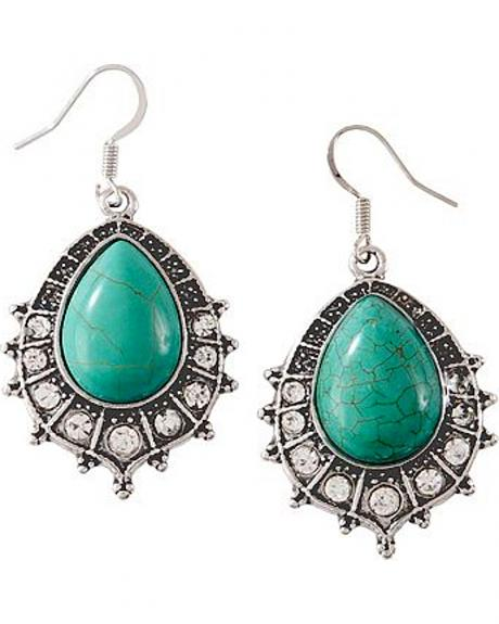 Faux Turquoise Oval Teardrop Earrings