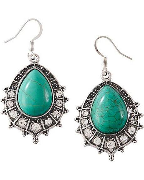 Faux Turquoise Oval Teardrop Earrings