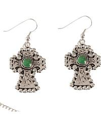Faux Turquoise Cross Pendant Necklace Set at Sheplers