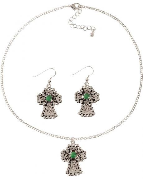 Faux Turquoise Cross Pendant Necklace & Earrings Set