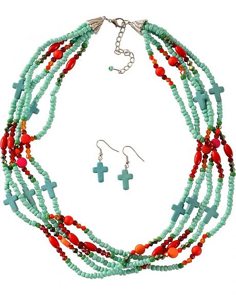 Layered Beaded Cross Necklace & Earrings Set